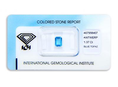 topaz 1.37ct blue s IGI certifikátem