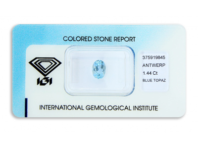 topaz 1.44ct blue s IGI certifikátem