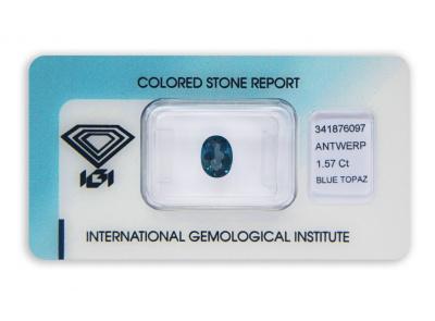 topaz 1.57ct deep blue s IGI certifikátem