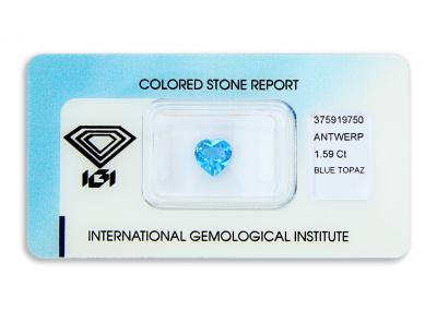 topaz 1.59ct deep blue s IGI certifikátem