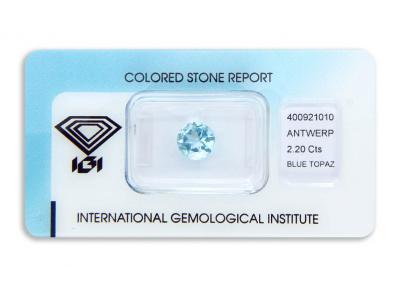 topaz 2.20ct blue s IGI certifikátem