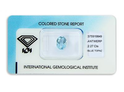 topaz 2.27ct blue s IGI certifikátem