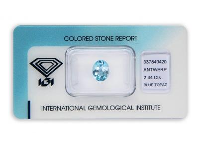 topaz 2.44ct blue s IGI certifikátem