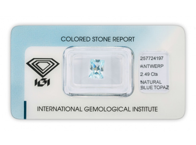 topaz 2.49ct blue s IGI certifikátem