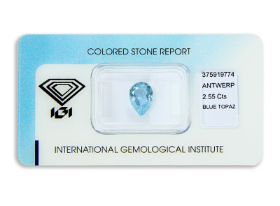 topaz 2.55ct blue s IGI certifikátem