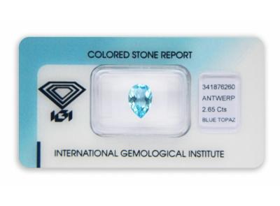 topaz 2.65ct blue s IGI certifikátem