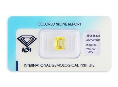 topaz 2.68ct yellow s IGI certifikátem