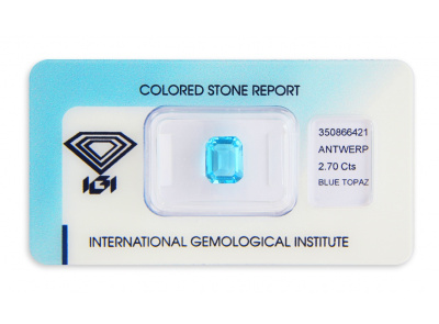 topaz 2.70ct blue s IGI certifikátem