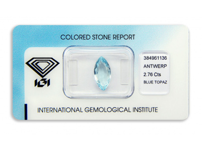 topaz 2.76ct blue s IGI certifikátem