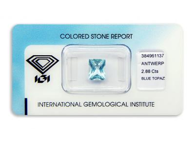 topaz 2.88ct blue s IGI certifikátem