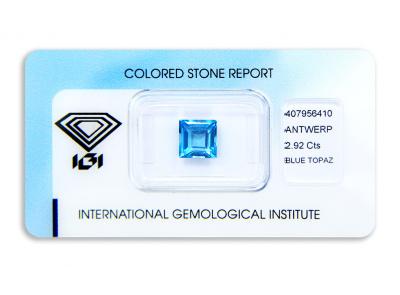topaz 2.92ct blue s IGI certifikátem