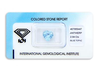 topaz 2.94ct blue s IGI certifikátem