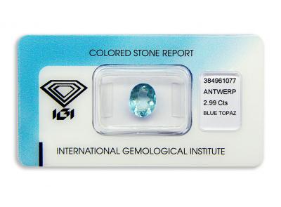 topaz 2.99ct blue s IGI certifikátem
