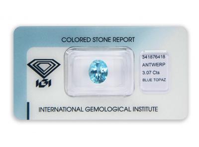 topaz 3.07ct blue s IGI certifikátem