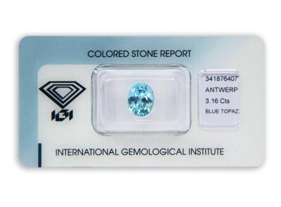 topaz 3.16ct blue s IGI certifikátem