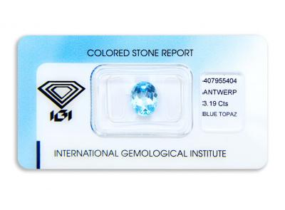 topaz 3.19ct blue s IGI certifikátem