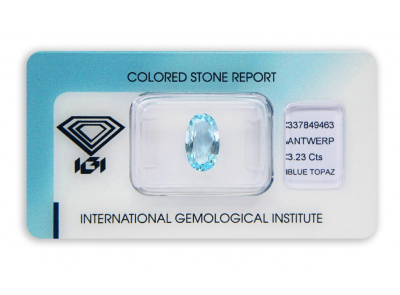 topaz 3.23ct blue s IGI certifikátem