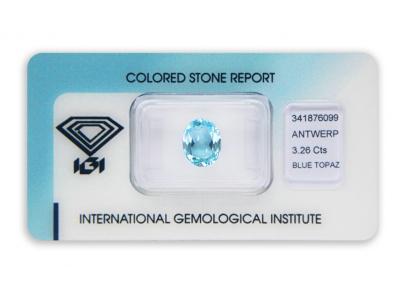 topaz 3.26ct blue s IGI certifikátem