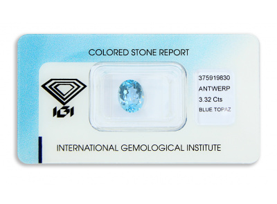 topaz 3.32ct blue s IGI certifikátem