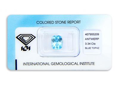 topaz 3.34ct blue s IGI certifikátem