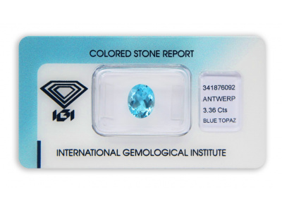 topaz 3.36ct blue s IGI certifikátem