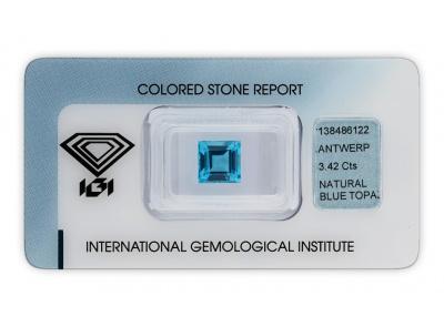 topaz 3.42ct blue s IGI certifikátem