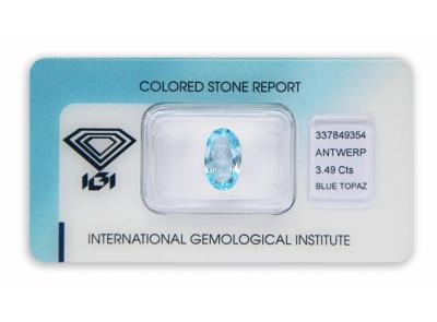 topaz 3.49ct blue s IGI certifikátem