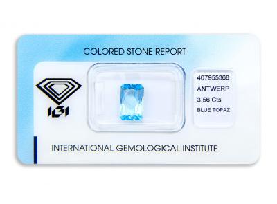 topaz 3.56ct blue s IGI certifikátem