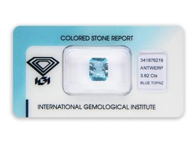 topaz 3.62ct blue s IGI certifikátem