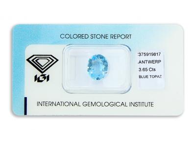 topaz 3.65ct blue s IGI certifikátem