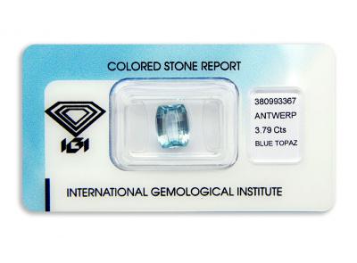 topaz 3.79ct blue s IGI certifikátem