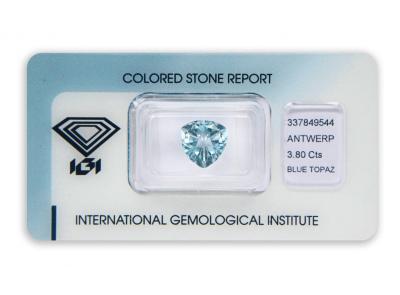 topaz 3.80ct blue s IGI certifikátem