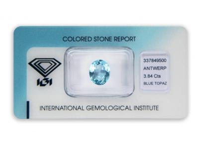 topaz 3.84ct blue s IGI certifikátem