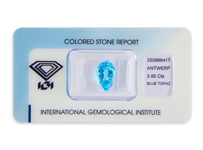 topaz 3.85ct blue s IGI certifikátem