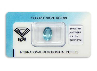 topaz 3.91ct blue s IGI certifikátem