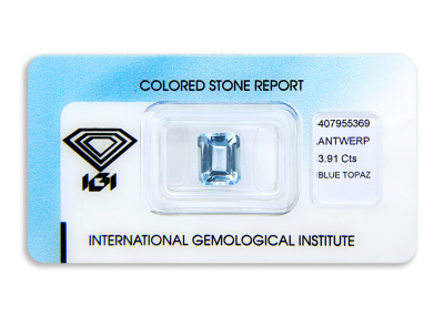 topaz 3.91ct light blue s IGI certifikátem
