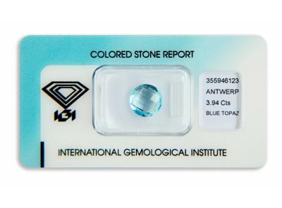 topaz 3.94ct blue s IGI certifikátem