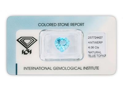 topaz 4.06ct blue s IGI certifikátem