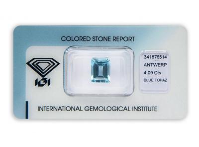 topaz 4.09ct blue s IGI certifikátem