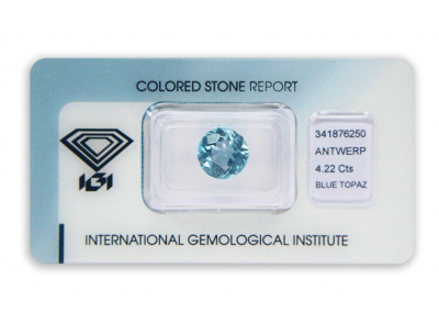 topaz 4.22ct blue s IGI certifikátem