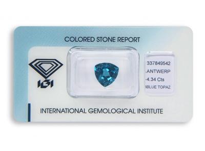 topaz 4.34ct deep blue s IGI certifikátem