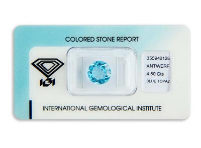 topaz 4.50ct deep blue s IGI certifikátem