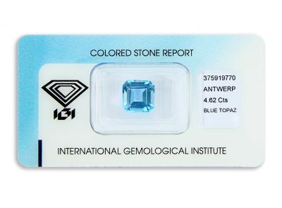 topaz 4.62ct blue s IGI certifikátem