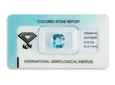 topaz 4.72ct blue s IGI certifikátem