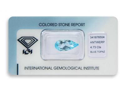 topaz 4.73ct blue s IGI certifikátem