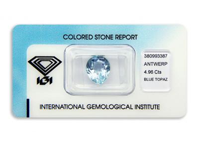 topaz 4.96ct blue s IGI certifikátem
