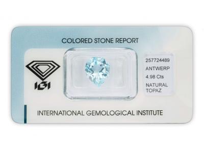 topaz 4.98ct blue s IGI certifikátem