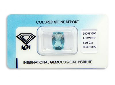 topaz 5.06ct blue s IGI certifikátem