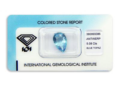 topaz 5.08ct blue s IGI certifikátem