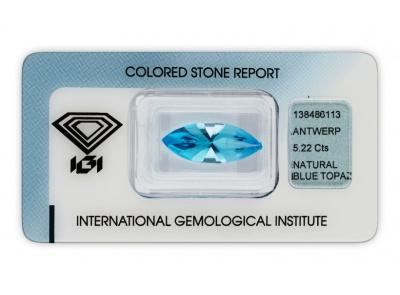 topaz 5.22ct blue s IGI certifikátem